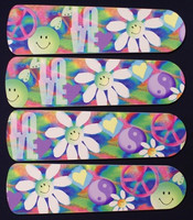 "New PEACE LOVE 60'S FLOWERS 42"" Ceiling Fan BLADES ONLY"