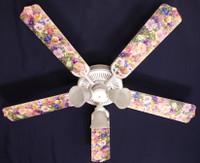 """New PANSY, PANSIES, PENTUNIA FLOWERS Ceiling Fan 52"""""""