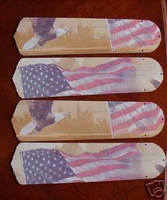 New AMERICAN FLAG EAGLE PATRIOTIC Ceiling Fan 52""
