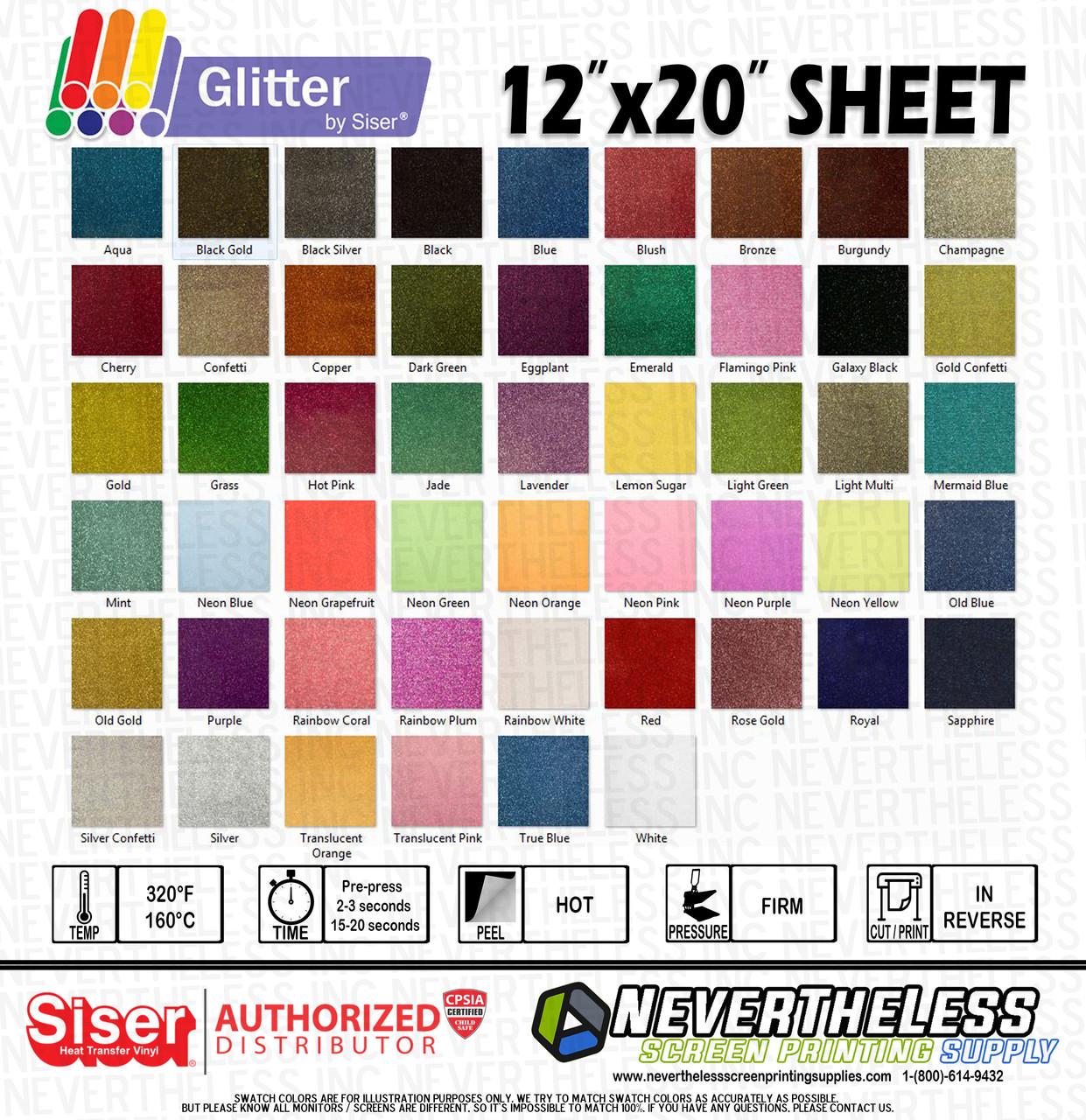 """Glitter Siser  Heat Press Transfer Vinyl  KIT 20/"""" x 12/"""" EACH for t-shirt"""