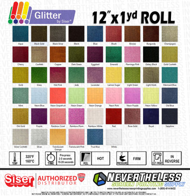"""Siser Glitter HTV Heat Transfer Vinyl - 12""""x1yd Sheet"""