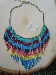 Boho Sky Beaded Fringe Necklace