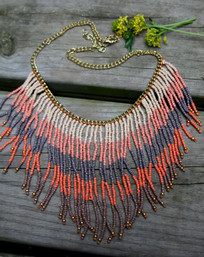 Eagle Spirit Beaded Fringe Necklace