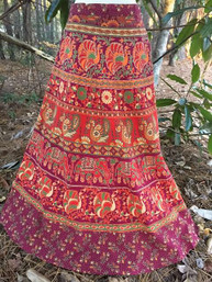 Vintage Hippie Full Length Wrap Skirt - Crimson