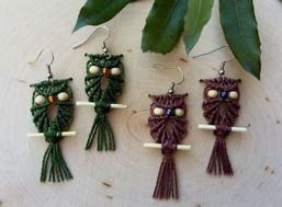 Wise Owl Fair Trade Macrame Earrings