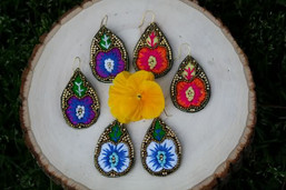 Peaceful Pansy Embroidered Earrings