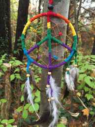 Good Vibes Rainbow Peace Dreamcatcher