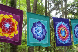 Peaceful Lotus Batik Meditation Flags
