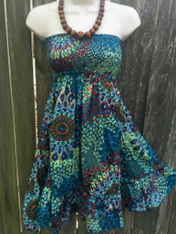 Pretty Peacock Strapless Dress