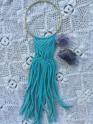 Bohemian Home Handmade Macrame Wall Art - Aqua Small