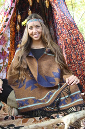 Aztec Winter Reversible Cozy Shawl / Scarf