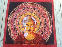 Fair Trade Buddha Mandala Batik Wall Hanging - Warm