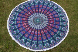 Bohemian Summer Round Fringed Tapestry / Throw / Beach Blanket (Large)