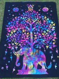 Rainbow Elephant Tree Tapestry