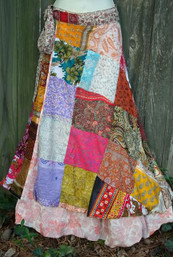 Bohemian Magic Patchwork Recycled Sari Wrap Skirt