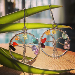 Rainbow Tree of Life Gemstone Earrings