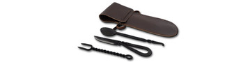 GDFB Spoon, Fork, Knife with Leather Pouch, Blackened Stainless