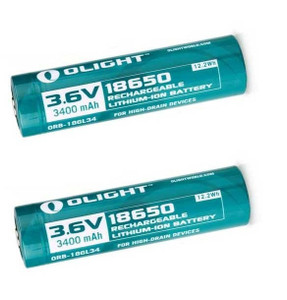 Olight 3400mAh 18650 protected Li-ion rechargeable battery 2 Pack