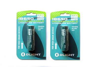 Olight 3200mAh 18650 protected Li-ion rechargeable battery 2 Pack