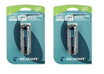 Olight HDC 3500mAh 18650 protected Li-ion rechargeable battery 2 pack ORB-186S35