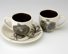 Espresso Cup and Saucer: Pomegranate - 2 views