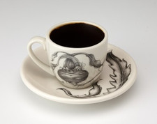 Espresso Cup and Saucer: Beet
