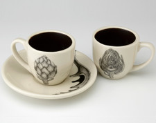 Espresso Cup and Saucer: Artichoke - two views