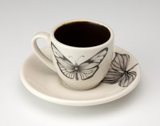 Espresso Cup and Saucer: Marble Butterfly