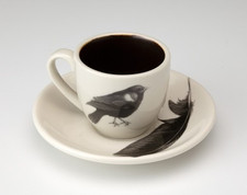 Espresso Cup and Saucer: Red-Winged Blackbird