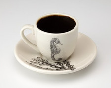 Espresso Cup and Saucer: Sea Horse