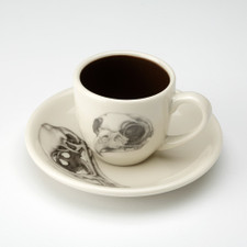 Espresso Cup and Saucer: Owl Skull