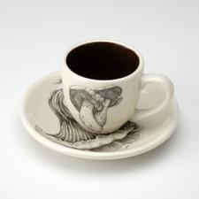 Espresso Cup and Saucer: Milk Cap Mushroom