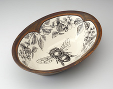 Large Serving Dish: Honey Bee with Apple Blossom