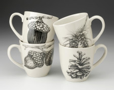 Set of 4 Mugs: Acorns and Pine Cones