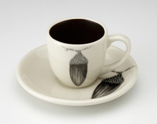 Espresso Cup and Saucer: Black Oak Acorn