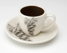 Espresso Cup and Saucer: White Pine Cone