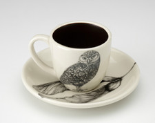 Espresso Cup and Saucer: Burrowing Owl