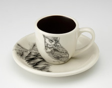 Espresso Cup and Saucer: Screech Owl #1