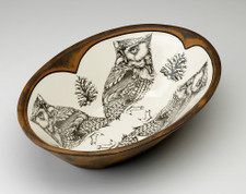 Large Serving Dish: Screech Owl #1