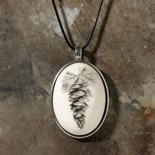 Ceramic Pendant - Botanical White Pine Cone - Laura Zindel Design