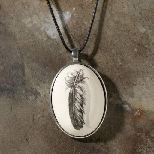 Ceramic Pendant - Game Birds Quail Feather