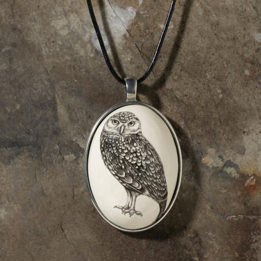 Ceramic Pendant - Burrowing Owl - Laura Zindel Design