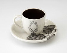 Espresso Cup and Saucer: Red Stag