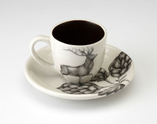Espresso Cup and Saucer: Red Buck