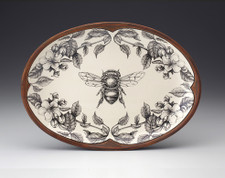 Oval Platter: Honey Bee with Apple Blossom