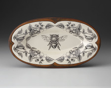 Oblong Serving Dish: Honey Bee Apple Blossoms