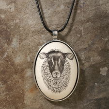 Ceramic Pendant: Suffolk Sheep