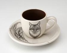 Espresso Cup and Saucer: Fox Portrait