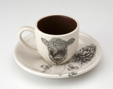 Espresso Cup and Saucer: Hereford Cow
