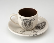 Espresso Cup and Saucer: Suffolk Sheep